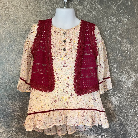Boho hippie blouse top with vest size 6 girls